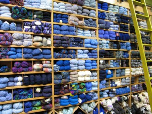 assortment of yarns in store