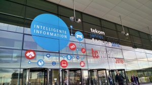 Façade of the Stuttgart convention center with teton and intelligent information decals