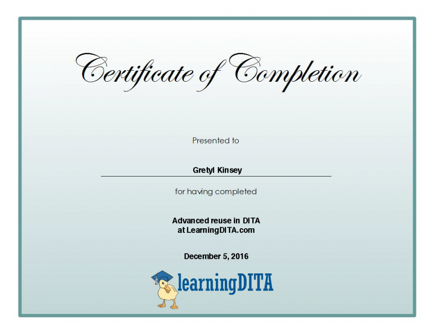 Example of a LearningDITA certificate