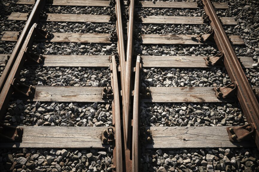 Two railroad tracks next to each other
